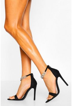 Black Diamante Chain Pointed Toe Two Parts
