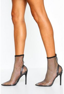 Black Diamante Mesh Pointed Toe Sock Boots