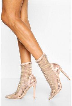 Nude Diamante Mesh Pointed Toe Sock Boots