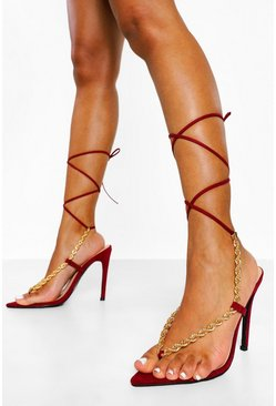Burgundy red Pointed Toe Chain Detail Wrap Up Heels