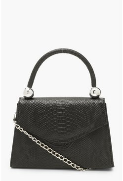Black Snake Structured Bead Detail Bag