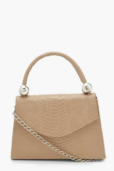 Cream white Snake Structured Bead Detail Bag