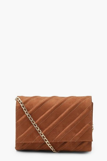 Tan brown Suedette Structured Cross Body Bag