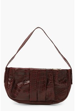 Burgundy red Croc Pleated Underarm Bag