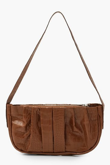 Chocolate brown Croc Pleated Underarm Bag