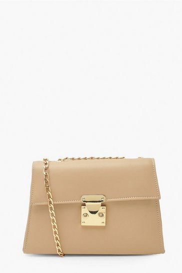 Camel beige Padded Structured Cross Body Bag