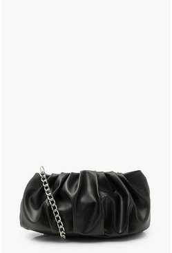 Black Mini Slouchy Gathered Clutch Bag