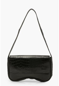 Black Croc Arched Underarm Bag
