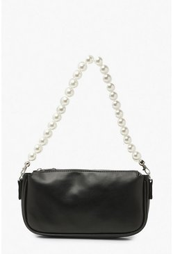 Black Pearl Handle Underarm Bag