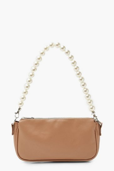 Camel beige Pearl Handle Underarm Bag