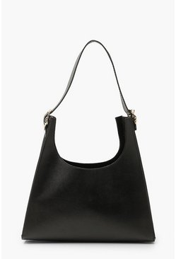 Black Smooth Pu Pyramid Shape Tote Bag