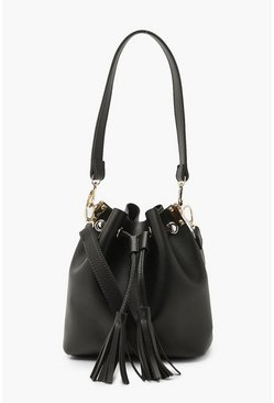 Black Tassel Detail Bucket Cross Body Bag