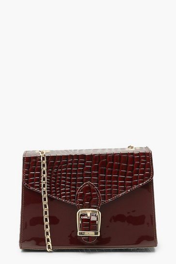 Burgundy red Patent Buckle Detail Cross Body Bag