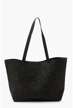Black Textured Large Shopper Bag