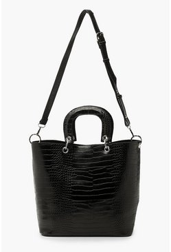 Black Croc Structured Handle Tote Bag