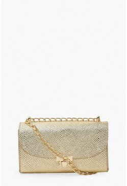 Gold metallic Metallic Mini Cross Body Bag