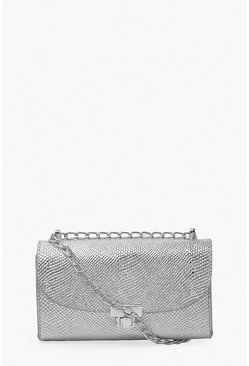 Silver Metallic Mini Cross Body Bag