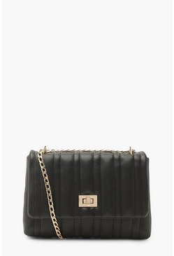 Black Quilted Lock Detail Mini Cross Body Bag