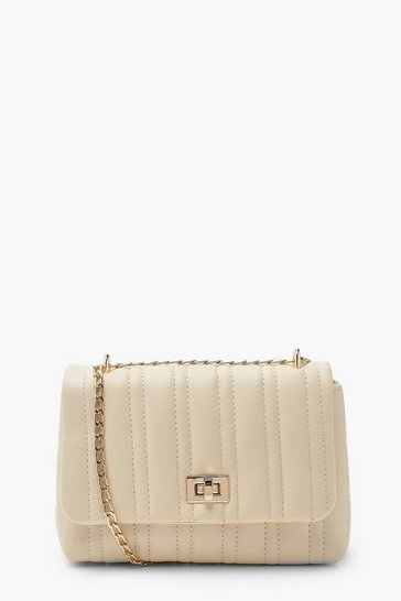 Cream white Quilted Lock Detail Mini Cross Body Bag
