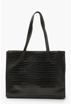 Black Croc Structured Large Shopper Bag