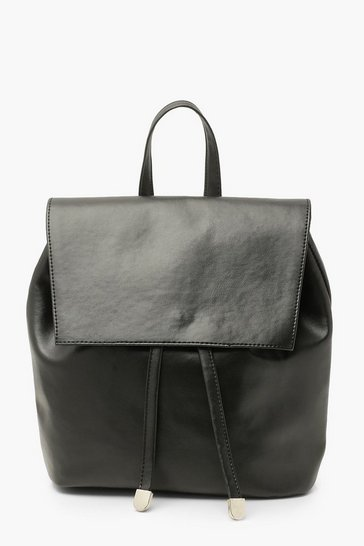 Black Smooth Pu Soft Rucksack