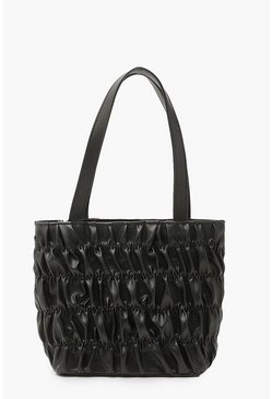 Black Ruched Small Tote Bag