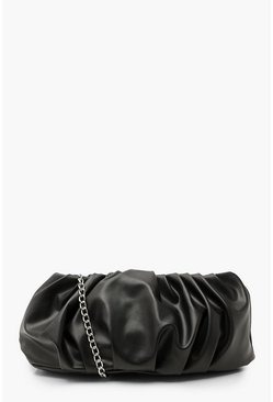 Black Oversized Slouchy Gathered Clutch Bag