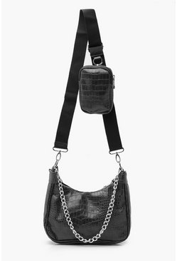 Black Croc Multiway Cross Body Bag