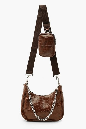 Chocolate brown Croc Multiway Cross Body Bag
