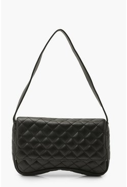 Black Diamond Quilt Arched Underarm Bag