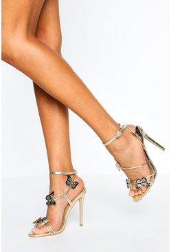 Gold Butterfly Detail Strappy Stiletto Heels