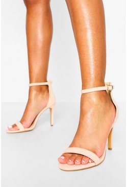Nude Stiletto Barely There Two Part Heels