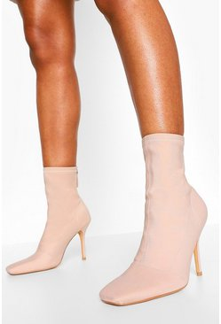 Nude Zip Back Stiletto Heel Sock Boots