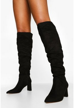 Black Slouched Low Block Heel Over The Knee Boots