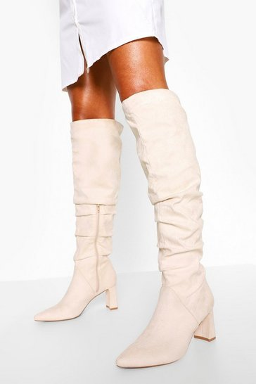 Stone beige Slouched Block Heel Over The Knee Boots