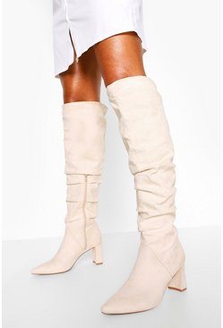 Stone beige Slouched Low Block Heel Over The Knee Boots