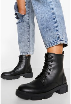 Black Interest Sole Chunky Hiker Boots