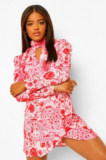 Pink Floral High Neck Puff Sleeve Mini Dress