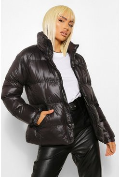 Black Funnel Neck Oversized High Shine Puffer
