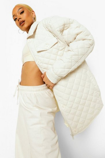 Cream white Quilted Shacket