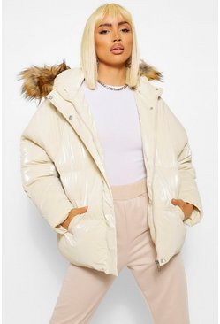 High Shine Faux Fur Trim Puffer, Cream weiß