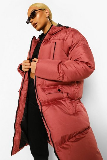 Rose pink Hooded Padded Longline Jacket