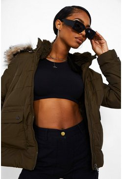Khaki Faux Fur Lined Puffer Jacket