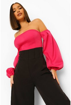 Hot pink pink Tailored Off The Shoulder Puff Sleeve Jumpsuit