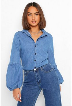 Light blue Volume Sleeve Button Down Denim Shirt