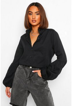 Washed black Volume Sleeve Button Down Denim Shirt