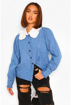 Mid blue blue Collared Denim Shirt
