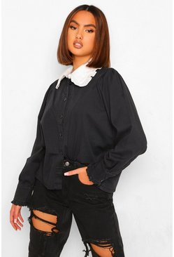 Collar Ruffle Denim Blouse, Washed black