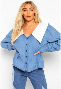 Mid blue blue Plunge Collared Denim Shirt