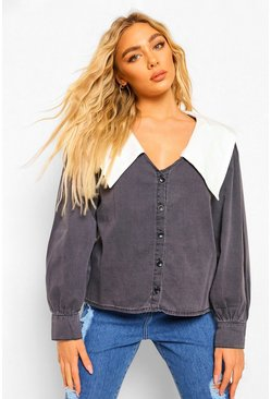 Washed black Plunge Collared Denim Shirt